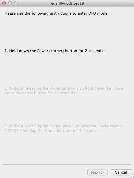 Redsn0w - Power tipku držati 3 sek.