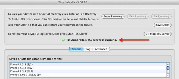 Tinyumbrella - TSS server je aktivan