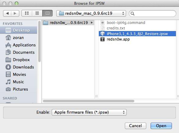 Redsn0w - odabir IPSW datoteke