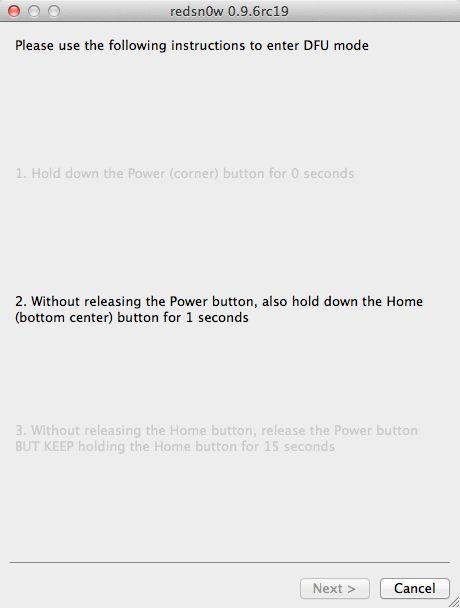 Redsn0w - Power i Home tipku držati 10 sek.